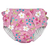 i play. Toddler Girls' Ruffle Snap Reusable Absorbent Swimsuit Diaper, Light Pink Daisy Fruit, 3T