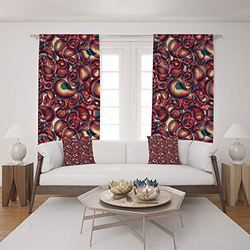 2 Panel Set Satin Window Drapes Living Room Curtains and 2 Pillowcases,Ethnic Sprit in a Funky Inspired Graphic Design,The Perfect Combination of Curtains and Pillows Makes Your Living Room Warmer ()