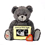 My Baby's Heartbeat Bear - Grey Love Bear w/Ultra Sound Picture Frame Stuffed Animal w/ 20 sec Voice Recorder Heart Sounds Bear - Gray Love Bear