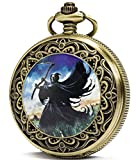 SEWOR Fashion Bronze Quartz Enamel Painting Pocket Watch Black Dial + Leather Gift Box (Death cemetery)