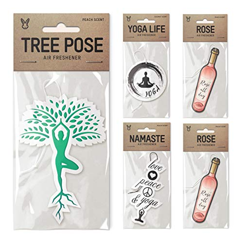 Air Freshener Bundle 5 Pack, Tipsy Yoga Theme, Tree Pose, Yoga Life, Namaste, 2X Rose, Premium - Rose Yoga Namaste