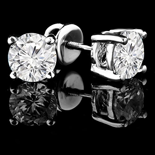 4/5/5Outlet-Boucles d'Oreilles Clous en Or Blanc 14Carats Avec Diamant Solitaire rond fermoirs à vis-md160162