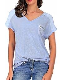 Women's Casual V Neck Short Sleeve Pocket Loose Slub T Shirt Tops
