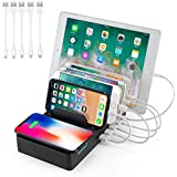 LYMMC USB Charging Station, Charging Stand Multi Device Charging Station with 5 USB Power Ports for phone/iPad,Qi Wireless Charging for iphoneX/XS Max/iphone8/8P (W3)
