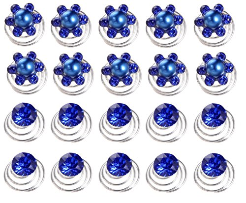 (AlphaAcc 20pcs Blue Crystal and Pearl Swirl Hair Twists Coils Spirals Hair Pin Clip Accessories)