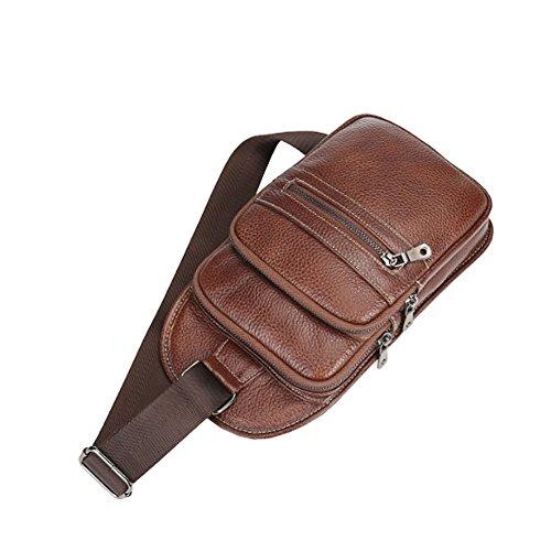 Othilar Herren Damen klein braun Leder Tasche Brusttasche Schultertasche Sporttasche Reise