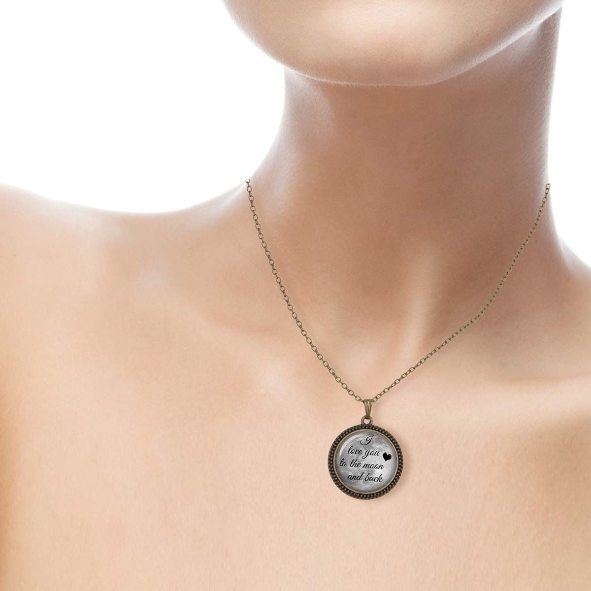 Lightrain I Love You to The Moon and Back Full Moon Pendant Necklace Vintage Bronze Chain Statement Necklace Handmade Jewelry Gifts