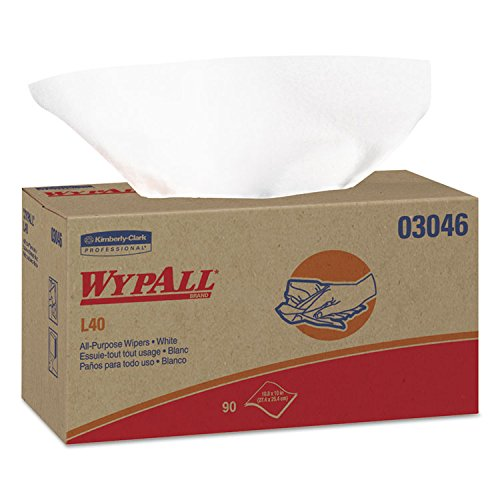 WypAll 03046 L40 Wipers, POP-UP Box, White, 10 4/5 x 10, 90/Box, 9 Boxes/Carton