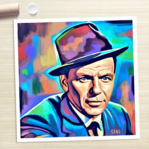 Christmas Jazz Portrait (FRANK SINATRA - Painting Giclee CANVAS PRINT by Stas Studio (Medium / ROLLED in a)