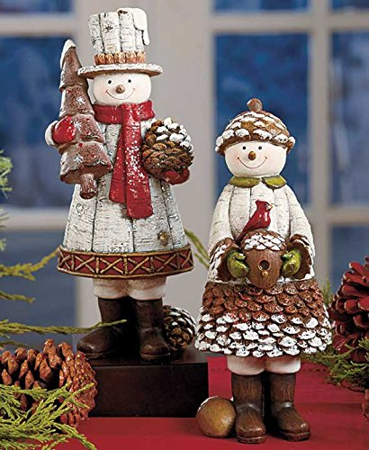Mr. And Mrs. Snowman - Winter Pine Cone Couple