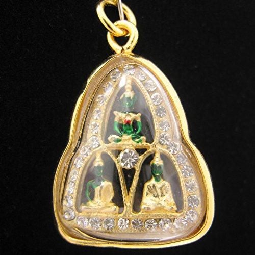 Phra Kaew Morakot Emerald 3 Season Thai Buddha Holy Amulet Pendant Crystal Gold
