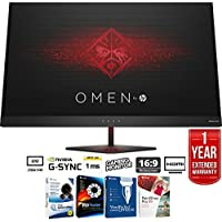 "HP Omen 27"" QHD (2560 x 1440) 165Hz 1ms NVIDIA G-SYNC Gaming Monitor + Elite Suite 17 Standard Software Bundle (Corel WordPerfect, Winzip, PDF Fusion,X9) + 1 Year Extended Warranty"
