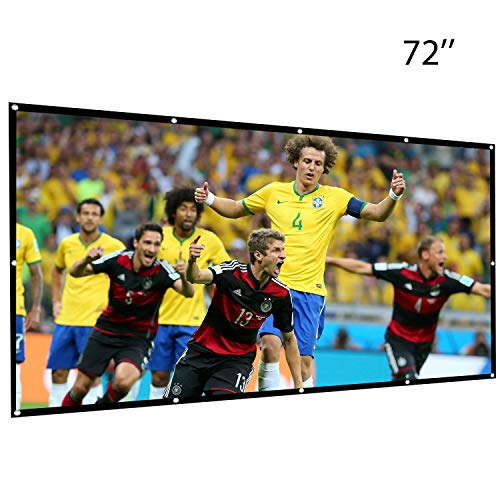 Umiwe 72 Inch Projection Screen-16:9 HD Portable Projector Movies Screen Foldable Anti-crease Wall Mounted with Hooks for Home Theater Outdoor Indoor Support Double Sided Projection, 0.5 Lbs Only ()