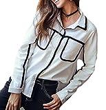 ouxiuli Women's Point Collar Chest Pockets Button Down Shirt White XS
