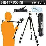 Vivitar 2-In-1 Tripod and Shoulder Stabilizer Kit For Sony Pro HXR-NX70U HXR-NX5U HXR-NX30 HDR-FX7, PMW-200, HDR-AX2000, HVR-HD1000U, NEX-VG900, HVR-Z5U, PMW-100, PMW-EX3, HDR-FX1000, HVR-S270U + More