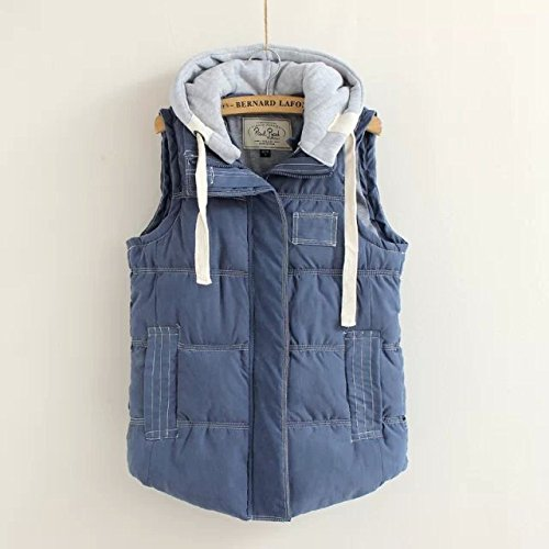 Navy Pocket Down Vest Color DYF Solid Zipper Coat blue Hat Women Jacket Sleeveless pqPnxwFZHn