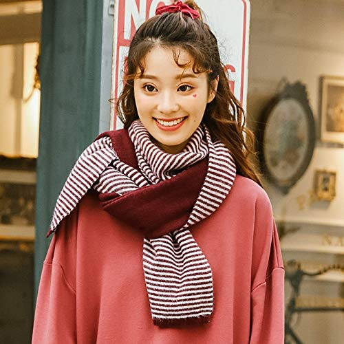 LLIND Home Joker Double-Sided Scarf Female Autumn and Winter Striped Girl Knitting Wool Scarf Thickening (Color : Burgundy) - Knitting Striped Scarves