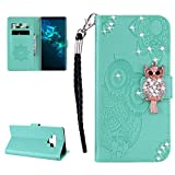 Glitter Diamond Wallet Samsung Galaxy Note 9 Case,Ostop Green PU Leather Embossed Flower Luxury Stand Purse,3D Owl Bling Rhinestone Crystal Magnetic Closure Flip Cover,Credit Card Holder Shell
