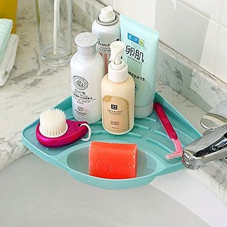 Ioffersuper Portable Kitchen Sink Corner Storage Rack Sponge Holder Wall Mounted Tool Little Blue Kitchen Dining