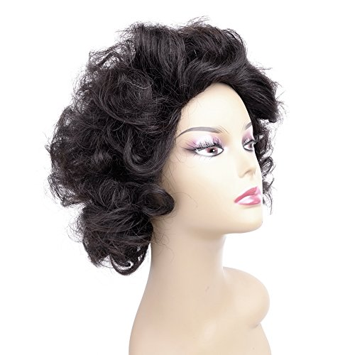 [Ty.Hermenlisa 100% Real Virgin Brazilian Remy Human Hair Wigs for Black Women Natural Color Curly Short Bobs Hairpieces with Elastic Strap, 120g Natural] (1950s Wig)