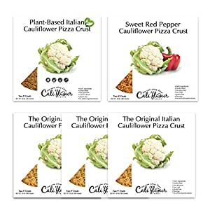 Cali'flour Foods Cauliflower Pizza Crust, Variety Pack Bundle of Plant-Based and Low Carb Options, 10 crusts in each bundle,