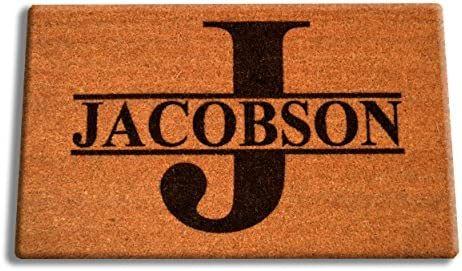 Personalized Your Name Coir Fiber Laser Engraved Doormat 30 x 18 Split Letter Monogram Custom