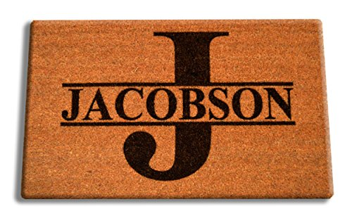 "Name Door Mat - Personalized [Your Name] Coir Fiber Laser Engraved Doormat 30"" x 18"" SPLIT LETTER MONOGRAM – CUSTOM"