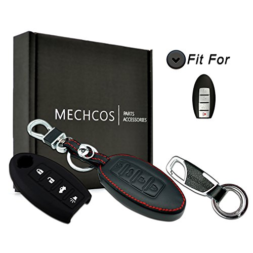 MECHCOS For 2007-2012 Nissan Altima 2009-2012 Nissan Maxima Leather Keyless Entry Remote Control Smart Key Case Cover with Braided Key Chain 4 Buttons, Bonus: Rubber Silicone Case & Key Ring ()