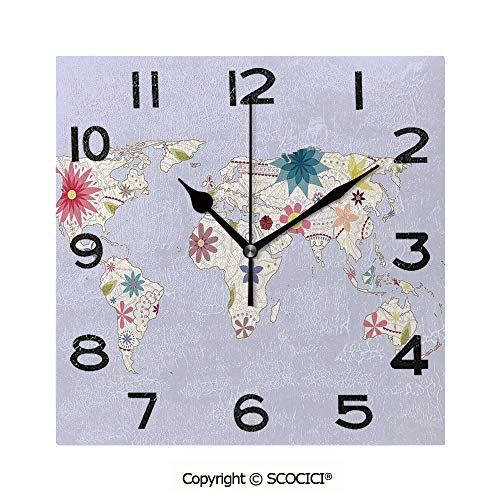 SCOCICI 8 inch Square Clock Retro Style Map with Pastel Toned Blossoms Kids Girls Atlas Illustration Decorative Unique Wall Clock-for Living Room, Bedroom or Kitchen Use