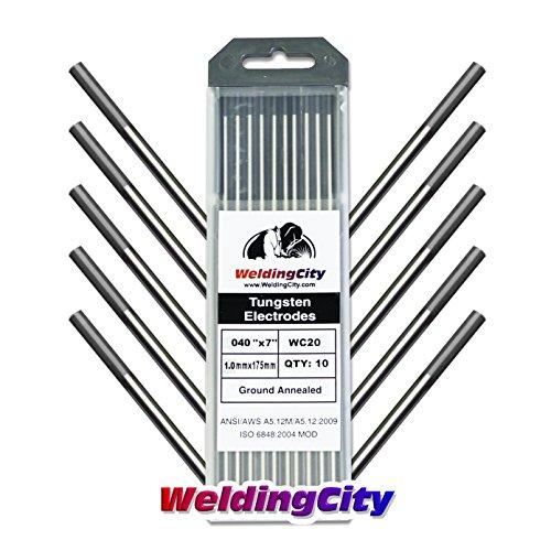 "WeldingCity 10-pcs Premium TIG Welding Tungsten Electrode Rod 2.0% Ceriated (Gray/AWS: EWCe20) .040"" x 7"" | 10-pk"