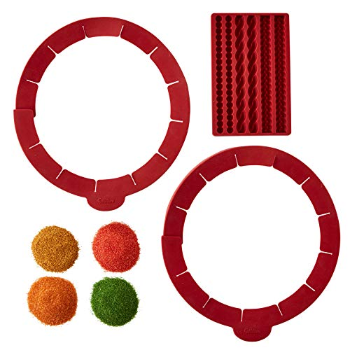 Wilton Silicone Pie Baking and Decorating Set, 6-Piece - Silicone Pie Mold, Pie Shield, Fall Colored Sugars