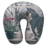Laurel Neck Pillow Cat Sit Window Travel U-Shaped Pillow Soft Memory Neck Support For Train Airplane Sleeping