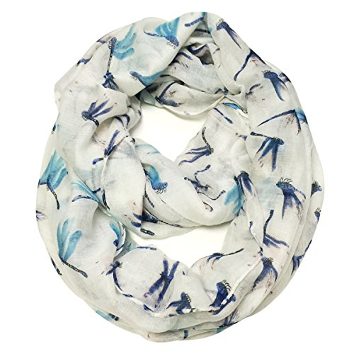 Wrapables Dragonfly Infinity Scarf, White