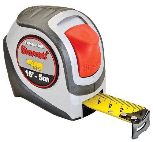 (Starrett Exact Plus KTXP106-16ME-N ABS Plastic Case Silver Grey Measuring Pocket Tape, English/Metric Graduation Style, 16' (5m) Length, 1.06