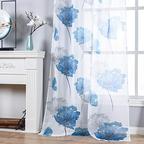 Sheer Curtains 84 Long Home Décor Watercolor Floral Printed Curtains Panels for Bedroom/Patio Glass Door 54 by 84 Inches,2 Pieces Set,Grommet Fashion Adorable Leaf Voile Draperies for Nursery