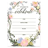25 Whimsical Floral Wreath Invitations with Envelopes (Pack of 25) Any Occasion Large 5x7 Fill In Birthday, Bachelorette, Anniversary, Bridal Shower, Excellent Value Party Invites VI0048B