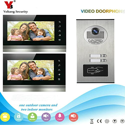 (YobangSecurity Wired Video Door Intercom 7 inch Video Door Phone Doorbell Home Video Entry Intercom System RFID Access Control IR Camera Monitor Night Vision Two Way Audio For 2 Units Apartment)