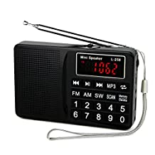 TIVDIO L-258 Portable Digital Shortwave Transistor Radio with AM FM Micro-SD Card AUX Input MP3 Player Speaker(Black)