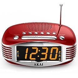 Akai Retro Style Radio Alarm Clock, Red (CE1500R)