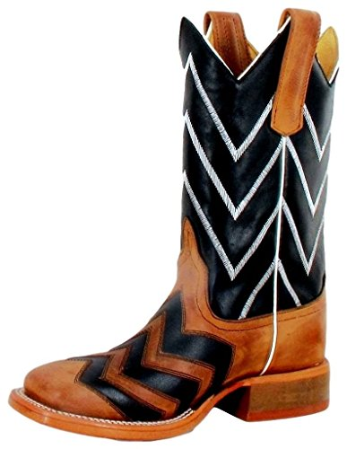 Kids Bean Anderson Boots (Anderson Bean Western Boots Boys Chevron 11 Child Honey Black K7058)