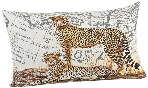 SARO LIFESTYLE 3132 Cheetah Pillow, 14-Inch by 23-Inch, Natural (Bedding Inc Cheetah)