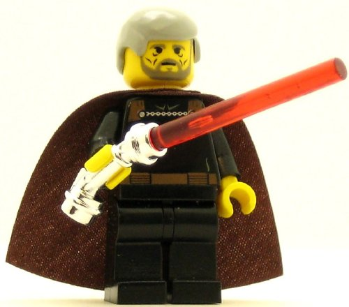Lego Star Wars Minifigure: Count Dooku with Red Lightsaber & Chrome Hilt - Count Dooku Lightsaber Electronic