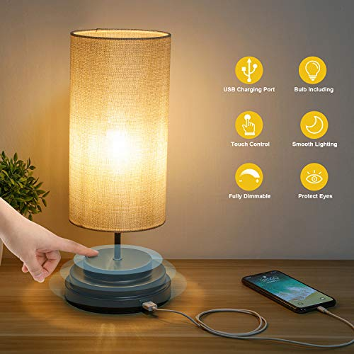 Kohree Touch Control Bedside LED Table Lamp Fully Dimmable USB Port Desk Lamp Dimmer Modern Nightstand Lamp with Square Fabric Lamp Shade for Bedroom Living Room Office, 4W 2700K Led Bulb Included