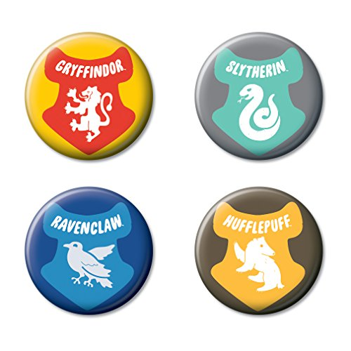 """Ata-Boy Harry Potter Houses of Hogwarts Charms Set of 4 1.25"""" Collectible Buttons"""