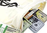 Large Fake Money Drawstring Bag Pouch with Dollar Sign Design, Humorous Party Favor Carry Bag, Cream - 16 x 11 inches