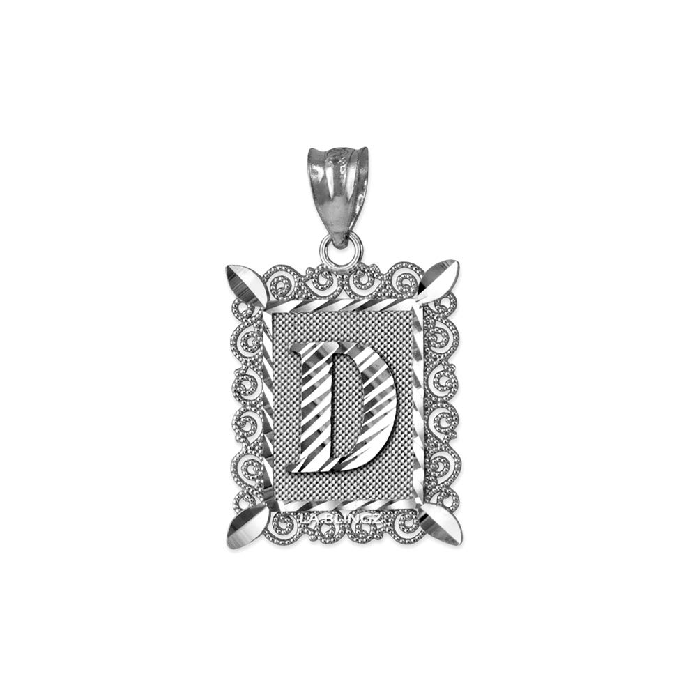 LA BLINGZ 14K White Gold Filigree Alphabet Initial Letter D DC Pendant S//L