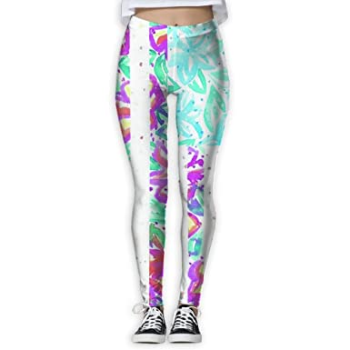 554498d5ebb Amazon.com  American Mermaid Flag Starfish Print Full-Length Workout  Leggings For Woman  Clothing