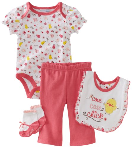 Vitamins Baby-girls Newborn One Cute Chick 4 Piece Creeper Pant Set