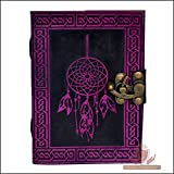 Leather Journal Book Dream Catcher Embossed Handmade Notebook Diary Book of Shadows Organizer Daily Planner Office Diary Sketchbook Handbook Poetry Book 5(L) x 7(H) Inches