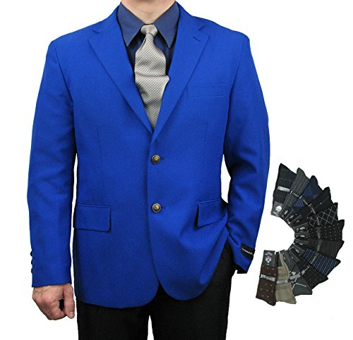 Classic Look Classic Blazer - Men's Classic Fit Single-Breasted 2-Button Blazer Jacket Sports Coat w/one Pair Dress Socks (Variety Colors) - Royal Blue 44R